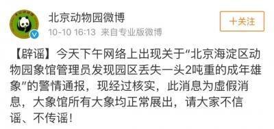 北京动物园大象丢了?这个谣言的发布者事儿大了……