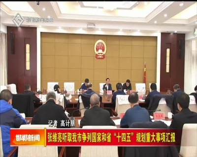 """张维亮听取我市争列国家和省""""十四五""""规划重大事项汇报"""
