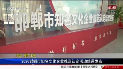 2020邯郸市知名文化企业推选认定活动结果发布