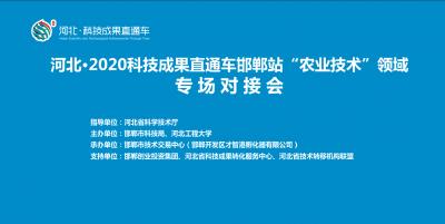 """【回放】河北·2020科技成果直通车邯郸站""""农业技术""""领域专场对接会"""