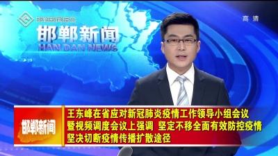 王东峰在省应对新冠肺炎疫情工作领导小组会议暨视频调度会议上强调  坚定不移全面有效防控疫情 坚决切断疫情传播扩散途径  许勤主持会议